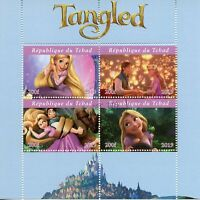 Chad Disney Stamps 2019 CTO Tangled Rapunzel Cartoons Animation 4v M/S