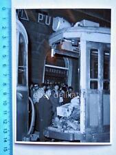 Vecchia foto TRAM TRAMWAY Trieste motrice rimorchio incidente