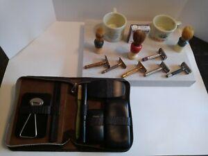 VTG Shaver LOT GILLETTE Safety Razors mugs brushes case Williams soap ever ready