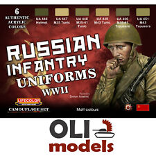 RUSSIAN INFANTRY WWII UNIFORMS COLOR Acrylic Paint Set 6x20ml  LIFECOLOR CS-42