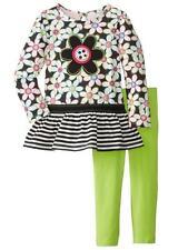 Kids Headquarters Little Girls' Flower Print 2 Piece Legging Set, Chartreuse, 2T