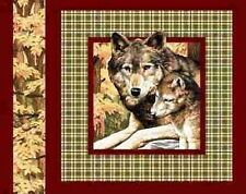 Mother Wolf and Cubs Brown Plaid Panel Fabric Pillow Panel
