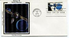 1975 Mariner 10 Venus Mercury First Day Issue Pasadena Colorano Silk Cachets SAT