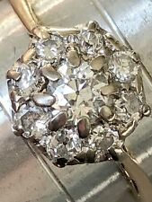 Dazzlingly Sparkly 0.62 Carat Old Cut Diamond Daisy Cluster Ring 18ct Gold 18k