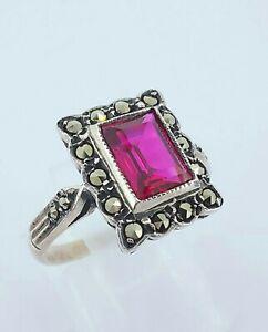 Vintage Sterling Silver Ruby & Marcasite Cluster Engagement Ring UK L