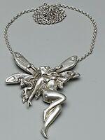 Zauberhaftes 925 Silber Collier im Jugendstil große Elfe Nude 46 cm lang /A339
