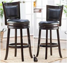2 Piece Brown Cappuccino Finish Pub Stool Set Home Dining Room Kitchen Furniture