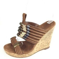 Tory Burch Womens Size 6 M Brown Leather Wedge Cork Slide Sandals