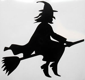 Halloween Gothic Party Flying Witch Vinyl Sticker Decal