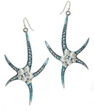 Multi Pearl Starfish Earrings Pearls Teal