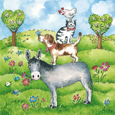 """20 Servietten""""Animal Farm""""Esel*Hund*Katze*Hahn*Wiese*33x33*ppd*Kinder-Geburtstag"""