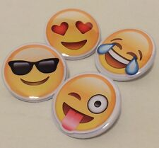 Emojis SET OF 4 BUTTONS or MAGNETS or MIRRORS iphone smiley faces pins badges