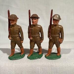 BARCLAY B15 THREE SHOULDER ARMS, LONG STRIDE, TIN HELMET, EX+/NM, CIRCA 1935