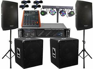 3000 Watt Pa Anlage 3 wege Box USB Musiker Mischpult DJ Licht Light bar LED