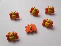 6 Stück Bineknöpfe  Kinderknöpfe Puppenknöpfe  Knöpfe Orange-Gelb Kinder Knöpfe