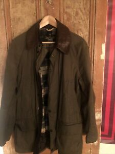 MENS BARBOUR LAND ROVER  BROWN WAX JACKET SIZE MEDIUM