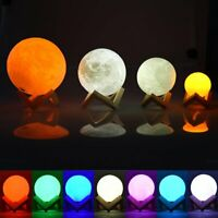 3D USB LED Night Light Moonlight Magical Moon Lamp Color Changing Touch/&W//Remote