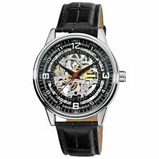 New Men's Akribos XXIV AK410SS 'Saturnos' Skeleton Automatic Black Leather Watch