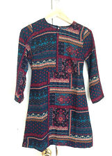 Abercrombie & Fitch Women Dress XS Floral Peasant A-line Red Green Long Sleeve