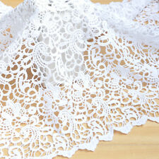 "1 Yard White Milk Silk Lace Fabric Five or Six Petals DIY Floral 25.35"" Width WT"