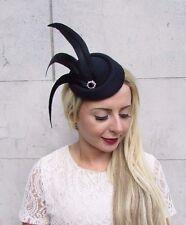 Black Statement Feather Pillbox Hat Hair Fascinator Races Vintage Headpiece 3762