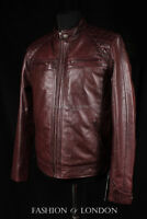 Men's INFERNO Dark Brown Washed Lambskin Motorcycle Biker Quilted Leather Jacket