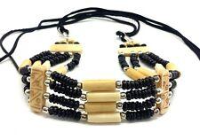 Handmade Native American Style 4 Line Buffalo Bone Hairpipe Choker Necklace
