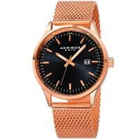 Akribos XXIV AK901RGB Date Display Mesh Bracelet Black Dial Rosetone Mens Watch