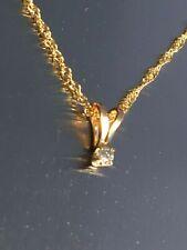 14K Diamond Pendant Necklace w/14K Italian Link Chain~Delicately Tiny Stunning!