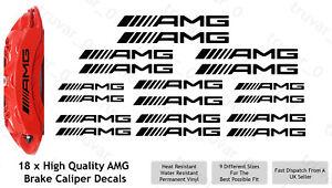 18 x AMG Brake Caliper Decal Permanent Vinyl Stickers. Straight Design - Black