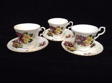 ROYAL WINDSOR Set of 3 TEA CUPS & SAUCERS • PINK & YELLOW ROSES • ENGLAND