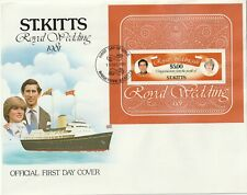 1981 St Kitts oversize FDC cover Prince Charles and Lady Diana