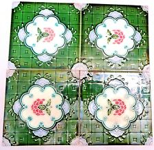 VINTAGE TILE CERAMIC PORCELAIN MAJOLICA ART NOUVEAU GEOMETRIC FLOWER DESIGN 4 Pc