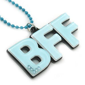 Pale Blue Crystal, Acrylic 'BFF' Pendant With Beaded Chain - 44cm L