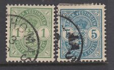 DANISH WEST INDIES :1900 1c green + 5c blue SG 39+41 used