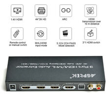 4Kx2K 3 Port HDMI Audio Extractor Splitter With 4K ARC Audio EDID 5.1CH/PASS