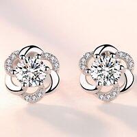 925 Sterling Silver Swirl Crystal Stone Stud Earrings Womens Girl Jewellery Gift