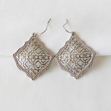 Kendra Scott Silver Drop Earrings In Silver Filigree Mix New $75