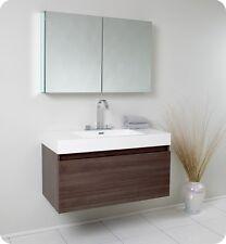 Fresca Mezzo Gray Oak Modern Bathroom Vanity w/ Mirror Medicine Cabinet w/Faucet