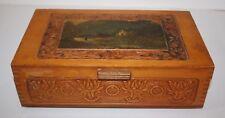 Vintage Carved Cedar Box Trinket Storage with Mirror on Legs