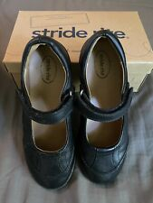 Stride Rite Girls Size 1.5W Carla Black Leather Comfort Mary Janes Loafers Flats