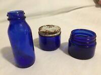 "Blue Glass Bottles Emerson Drug Co Noxema 5 (2"" & 4"")"