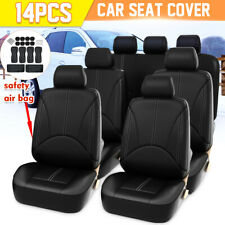 14pcs 8 Seater Universal Car Seat Cover Full Set Cushion Protector PU Leather