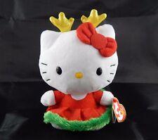 "Ty Sanrio Christmas Dress Reindeer Antlers Hello Kitty 6"" Girls Plush Toy 3+"