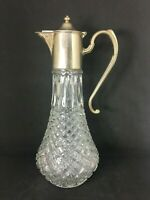 """Vintage Cut Glass Crystal Decanter Wine Claret Port Silver Plated Top 11"""" High"""
