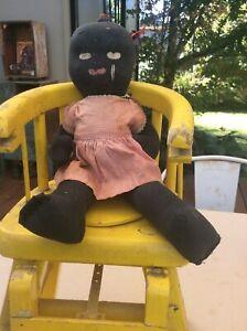 Folk Art Black Antique Doll Antique Vintage Toy Americana