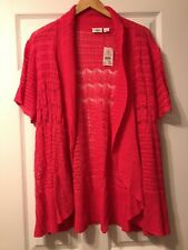 CATO Woman 22/24 Pink Open Front Cardigan Sweater, Short Sleeved NWT
