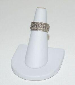 Vintage Sterling Silver Flower Floral Band Ring Size 6.75
