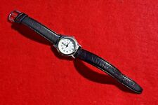 Vintage Time Watch Black Leather Quartz Stainless Water Resistant Japan Mov't