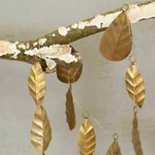Brass Golden Textured Leaf Garland, Rustic Metal Christmas Wedding Decoration